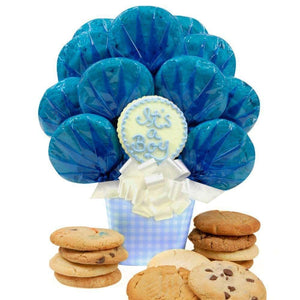 Baby Boy Gingham Cookie Bouquet - Fine Gifts La Bella Basket Company