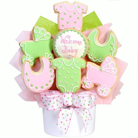 Baby Girl Cutout Cookie Bouquet - Fine Gifts La Bella Basket Company