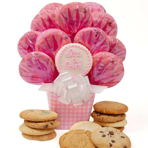 Baby Girl Gingham Cookie Bouquet - Fine Gifts La Bella Basket Company