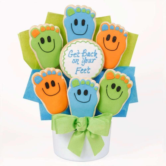 Back On Your Feet Cookie Bouquet - Fine Gifts La Bella Basket Company