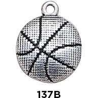 Basketball Charm Sterling Silver - Fine Gifts La Bella Basket Company