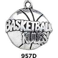 Basketball Rules Charm Sterling Silver - Fine Gifts La Bella Basket Company