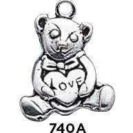 Bear Sitting Love Charm - Fine Gifts La Bella Basket Company