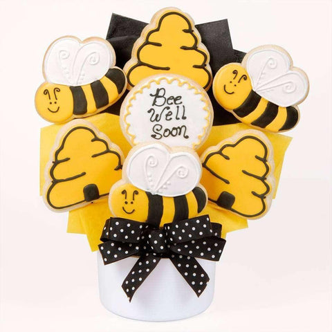 Bee Well Soon Cutout Cookie Bouquet - Fine Gifts La Bella Basket Company