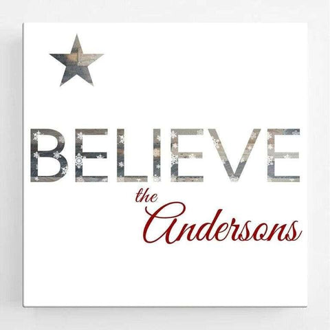 Believe Christmas Canvas Sign - Fine Gifts La Bella Basket Company