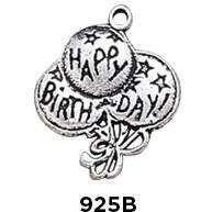 Birthday Balloons Charm Sterling Silver .925 - Fine Gifts La Bella Basket Company
