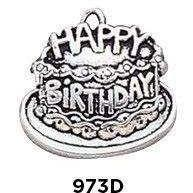 Birthday Cake Charm in .925 Sterling Silver - Fine Gifts La Bella Basket Company