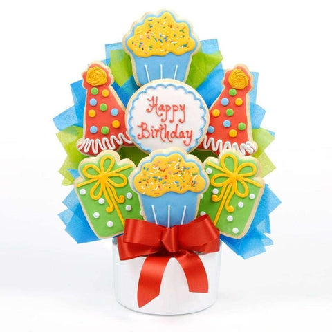 Birthday Party Cutout Cookie Bouquet - Fine Gifts La Bella Basket Company