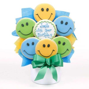 Birthday Smiles Cutout Cookie Bouquet - Fine Gifts La Bella Basket Company