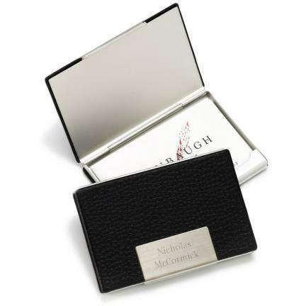 Black Leather Business Card Holder - Fine Gifts La Bella Basket Company
