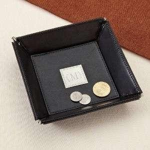 Black Leather Stash Tray - Fine Gifts La Bella Basket Company