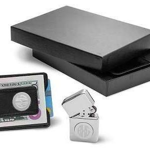 Black Leather Wallet and Chrome Lighter Set