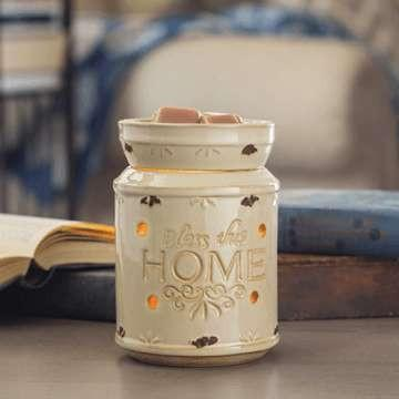 Bless This Home Cream Candle Warmer - Fine Gifts La Bella Basket Company