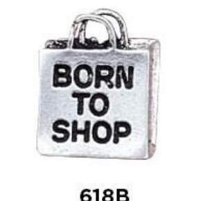 Born to Shop Charm Sterling Silver - Fine Gifts La Bella Basket Company