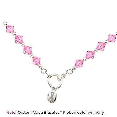 Breast Cancer Awareness ~ Pink Crystal Charm Bracelet - Fine Gifts La Bella Basket Company