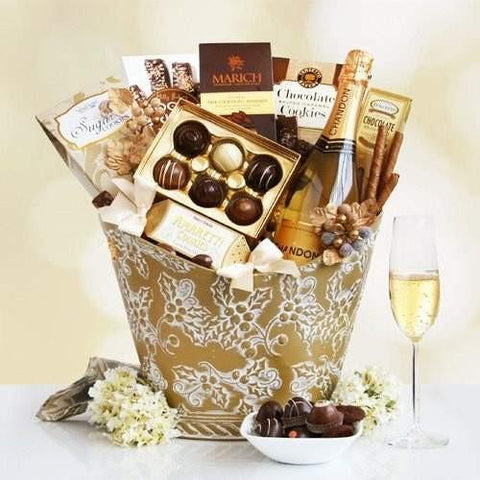 California Chandon Golden  Dazzle and delight someone very special with this sophisticated gift filled with Chandon sparkling wine and sweets.  - Fine Gifts La Bella Basket Company