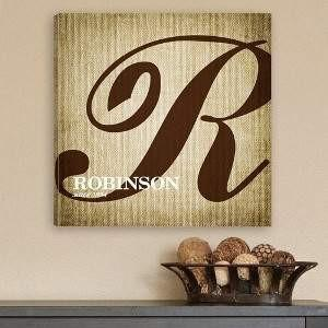 Calligraphy Monogram Canvas - Fine Gifts La Bella Basket Company