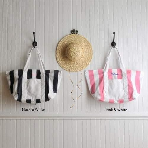 Candy Striped Beach Tote - Fine Gifts La Bella Basket Company