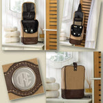 Canvas Leather Travel Kit - Monogrammed - Fine Gifts La Bella Basket Company
