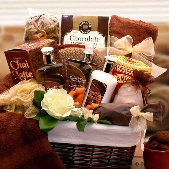The Caramel Indulgence Spa Basket is a gift that surrounds the body in an intoxicating essence that's exotic, delicate and thoroughly romantic.