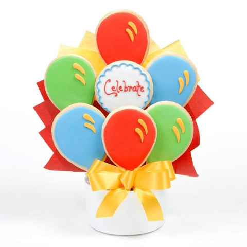 Celebrate Balloon Cookie Bouquet - Fine Gifts La Bella Basket Company