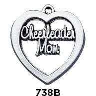 Cheerleader Mom Heart Charm - Fine Gifts La Bella Basket Company