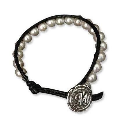 Chic Sweet and Fresh Water Pearl Initial Bracelet - Fine Gifts La Bella Basket Company