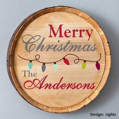 Christmas Lights Wood Barrel Sign - Fine Gifts La Bella Basket Company