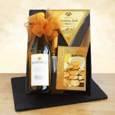 Classic Chardonnay Wine and Cheeseboard - Fine Gifts La Bella Basket Company