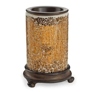 Crackled Amber Glass Candle Warmer - Fine Gifts La Bella Basket Company