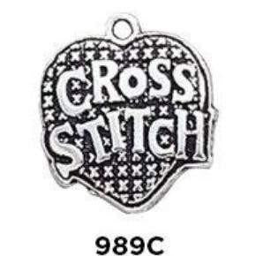 Cross Stitch Heart Charm Sterling Silver .925 - Fine Gifts La Bella Basket Company