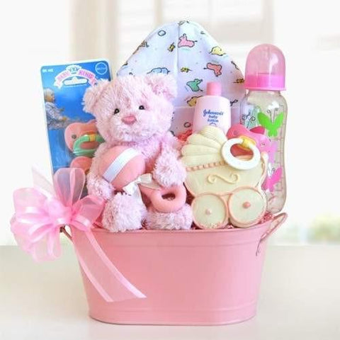 Cuddly Welcome for Baby Girl Basket - Fine Gifts La Bella Basket Company