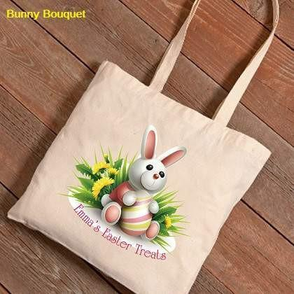 Easter Bunnies Canvas Bag 1 - Bunny Bouquet - Fine Gifts La Bella Basket Company