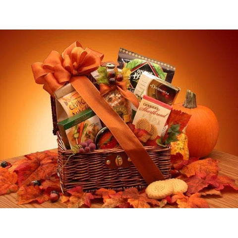 Fall Snack Chest Wicker Hamper - Fine Gifts La Bella Basket Company