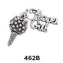 Flower Girl w/ Bouquet Charm 2 Part Charm Sterling Silver - Fine Gifts La Bella Basket Company