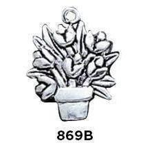 Flower Pot Sterling Silver Charm - Fine Gifts La Bella Basket Company