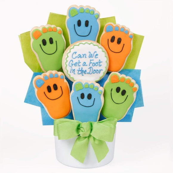 Foot In The Door Cookie Bouquet - Fine Gifts La Bella Basket Company
