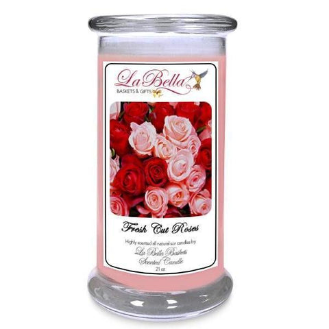 Fresh Cut Roses Scented Soy Candle - Fine Gifts La Bella Basket Company