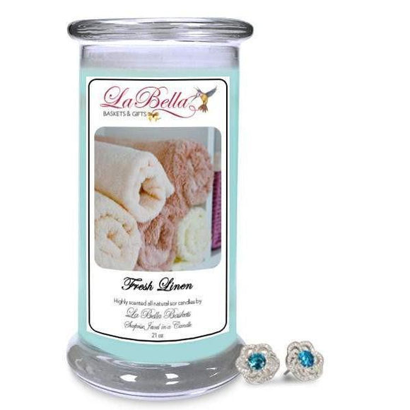 Fresh Linen Jewelry Candle - Fine Gifts La Bella Basket Company