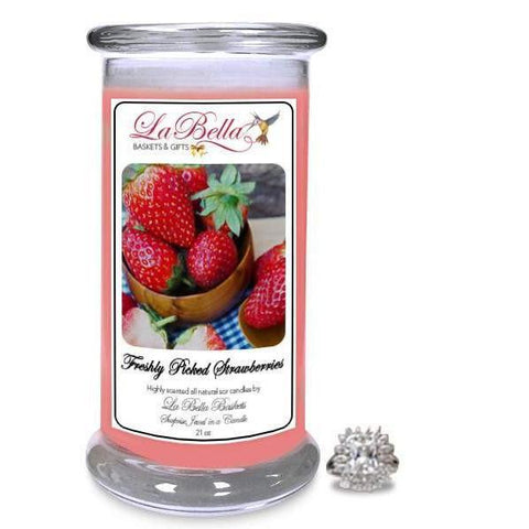 Freshly Picked Strawberries Jewelry Candle - Fine Gifts La Bella Basket Company