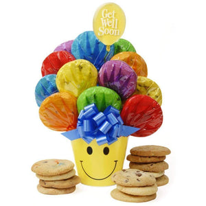 Get Well Smiley Cookie Bouquet - Fine Gifts La Bella Basket Company