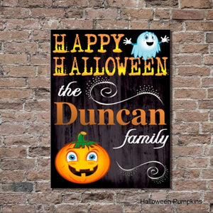 Halloween Pumpkins Canvas Sign - Fine Gifts La Bella Basket Company