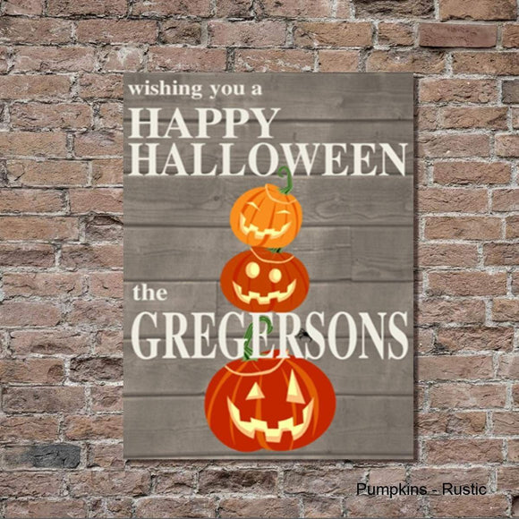 Halloween Pumpkins Rustic Canvas Sign - Fine Gifts La Bella Basket Company