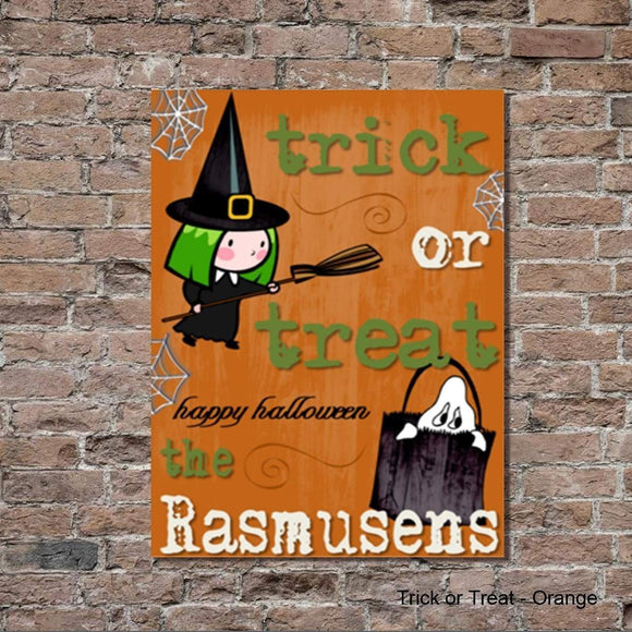 Halloween Trick or Treat Orange Canvas Sign - Fine Gifts La Bella Basket Company