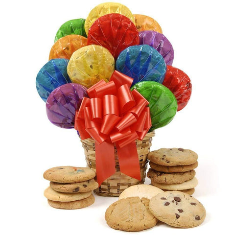 Happy Day Cookie Bouquet - Fine Gifts La Bella Basket Company