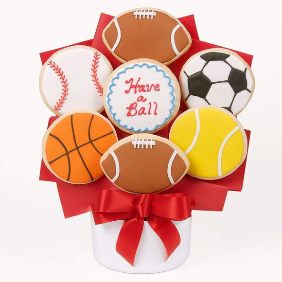 Have A Ball Cutout Cookie Bouquet - Fine Gifts La Bella Basket Company