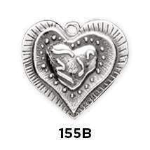Heart Layered Sterling Silver Charm - Fine Gifts La Bella Basket Company