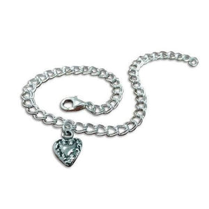 Heart Simple and Sweet w/ Charm Sterling Silver Bracelet - Fine Gifts La Bella Basket Company