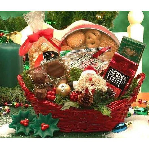 Holiday Cheer  This red holiday wicker tray bears the Holiday Cheer gift basket. Gourmet coffee, chocolates, cookies, and a festive holiday Santa planter deliver your holiday greeting