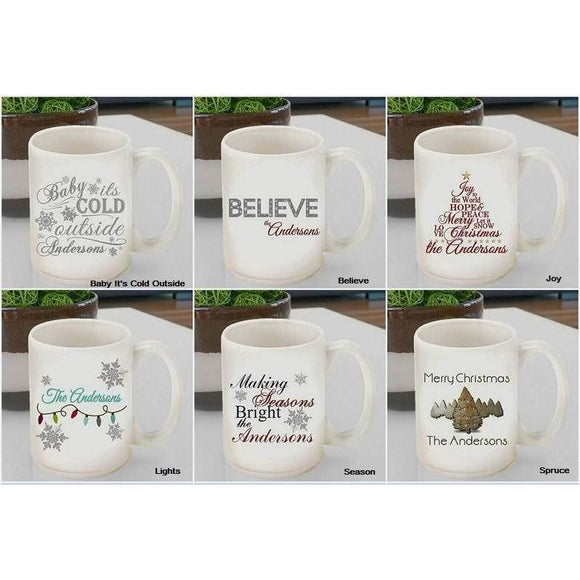 ur Personalized Holiday Christmas Coffee Mugs features classic icons of the Holiday Season! The mugs are ceramic and are made to last year after year.